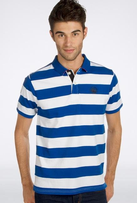 Provogue Blue Striped Polo T-Shirt