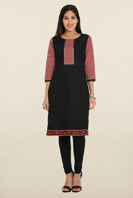Soch Black & Red Printed Cotton Kurta