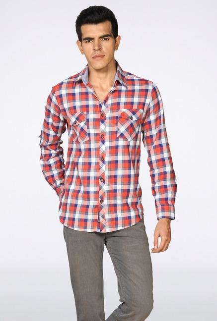 Provogue Red Checked Casual Shirt