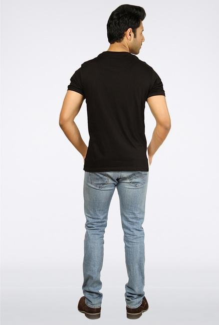 Provogue Black Printed T-Shirt