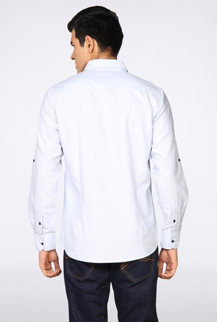 Provogue White Solid Casual Shirt