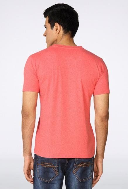 Provogue Peach V Neck T-Shirt