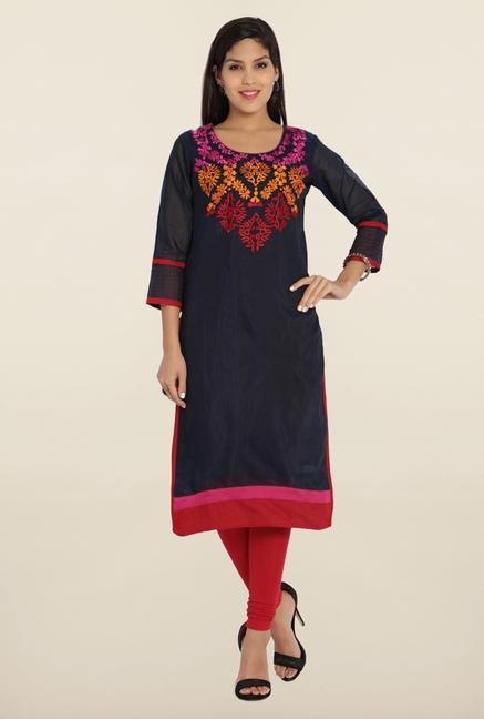 Soch Navy Blue & Red Chanderi Silk Kurta