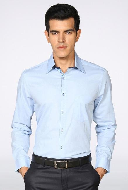 Provogue Sky Blue Solid Casual Shirt
