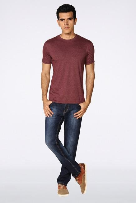 Provogue Maroon Solid T-Shirt