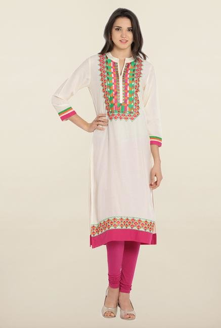 Soch Cream & Pink Embroidered Kurta