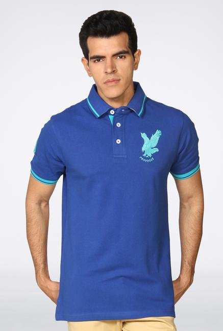 Provogue Blue Solid Polo T-Shirt