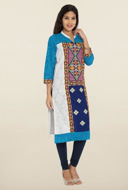 Soch White & Royal Blue Embroidered Cotton Kurta