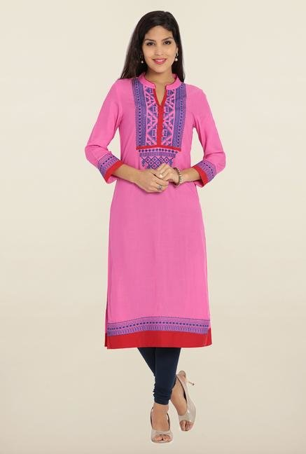 Soch Pink & Royal Blue Embroidered Kurta