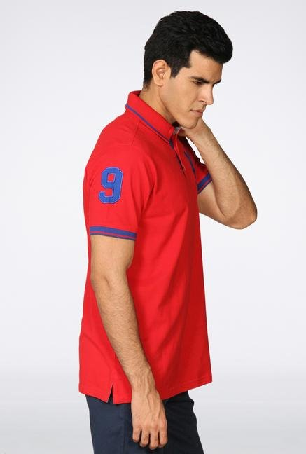 Provogue Red Solid Polo T-Shirt