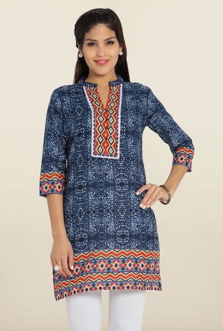 Soch Royal Blue Printed Cotton Kurti