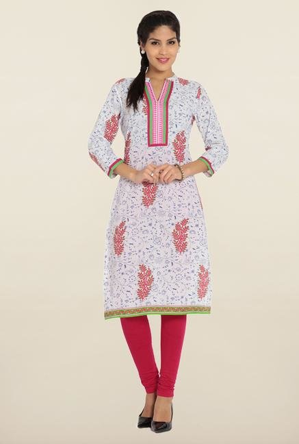 Soch White & Royal Blue Printed Cotton Kurta