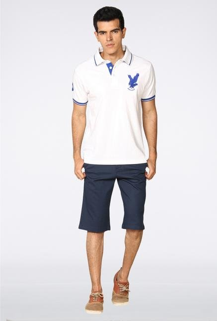 Provogue White Solid Polo T-Shirt