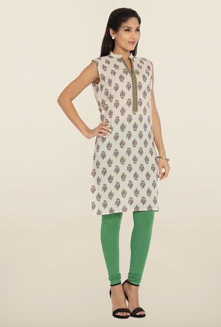 Soch Beige & Green Floral Printed Cotton Kurta