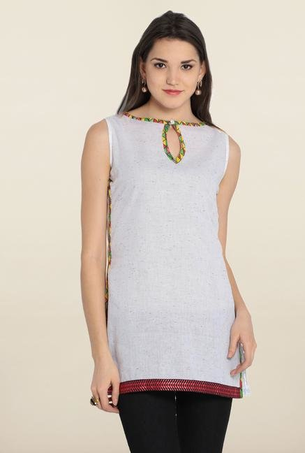 Soch White Printed Cotton Kurti
