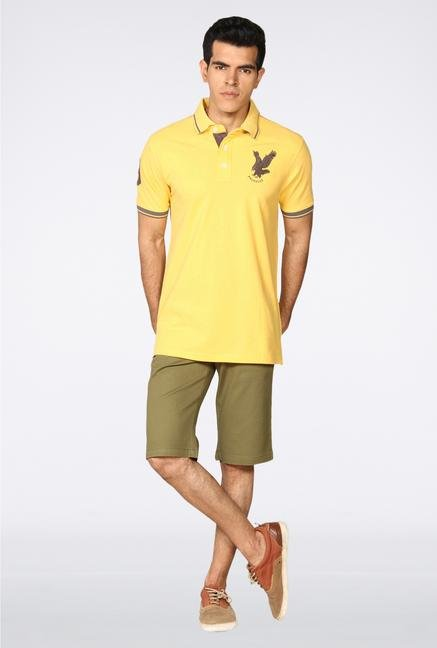 Provogue Yellow Solid Polo T-Shirt