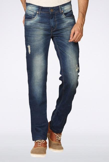 Provogue Blue Distressed Slim Fit Jeans