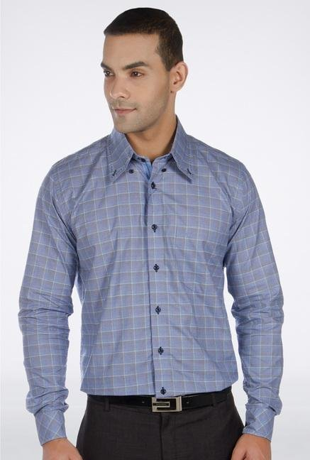 Provogue Blue Checked Casual Shirt