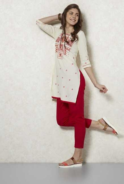 Fusion Beats Birch Embroidered Kurta