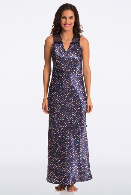 Pretty Secrets Navy Animal Print Night Gown