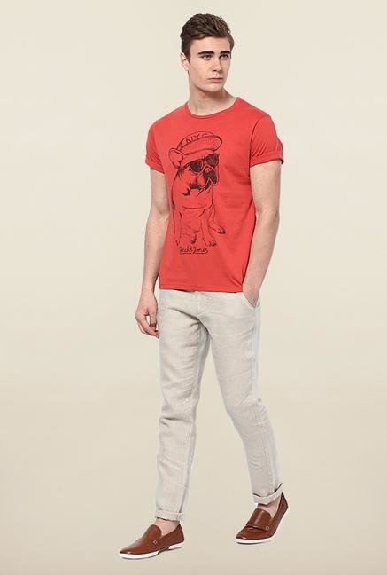 Jack & Jones Red Printed Slim Fit T-Shirt