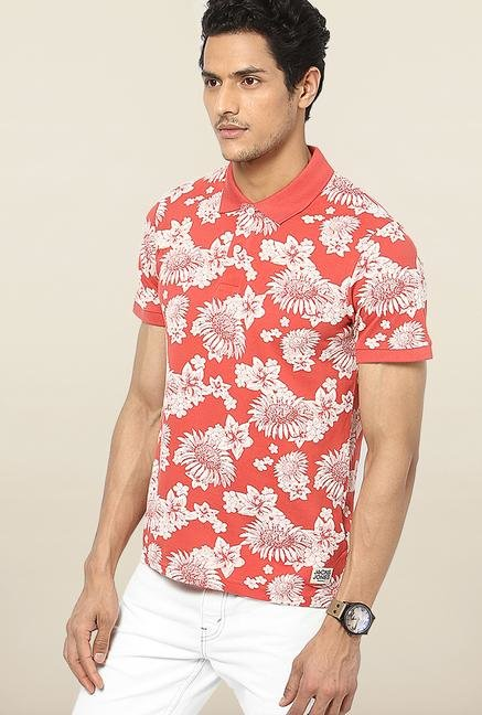 Jack & Jones Red Floral Printed Polo T-Shirt