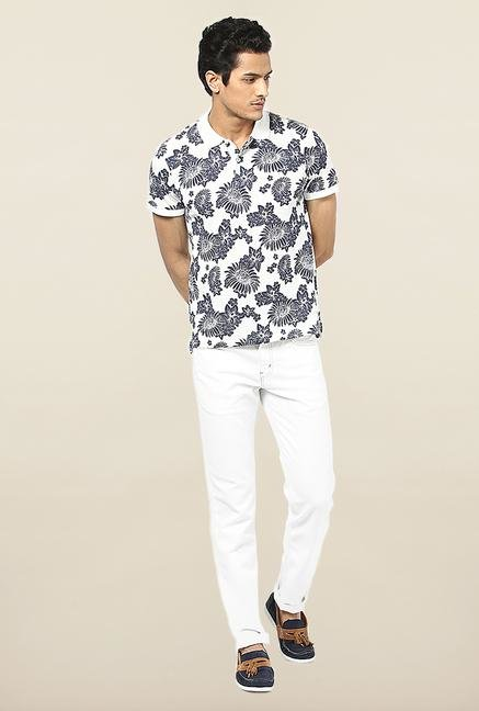 Jack & Jones White Floral Printed Polo T-Shirt