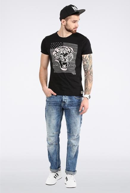 Jack & Jones Black Printed Crew Neck T-Shirt