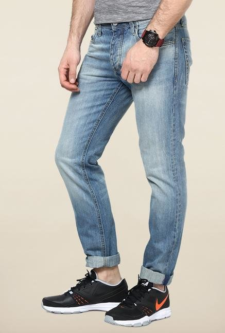 Jack & Jones Blue Mid Rise Washed Jeans