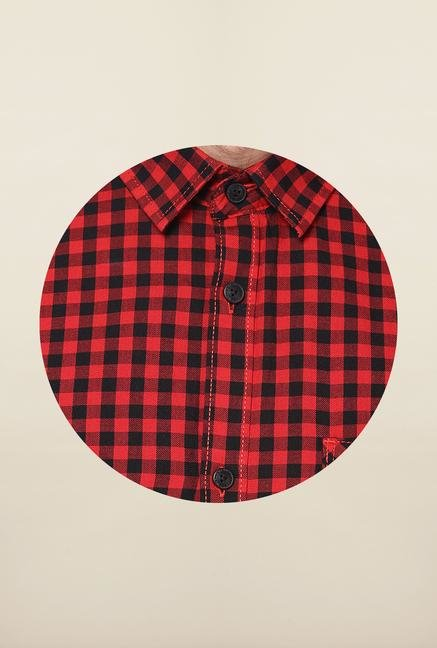 Jack & Jones Red And Black Checks Casual Shirt