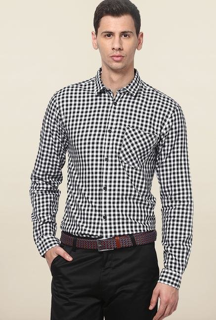 Jack & Jones Black And White Checks Casual Shirt
