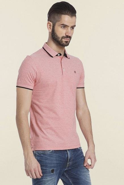 Jack & Jones Pink Solid Polo T-shirt