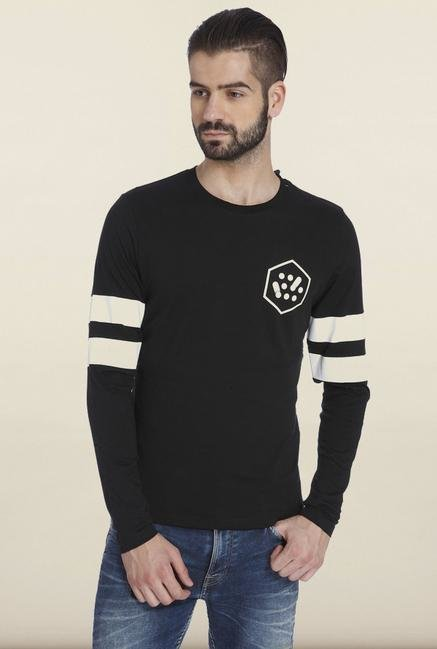 Jack & Jones Black Solid T-Shirt