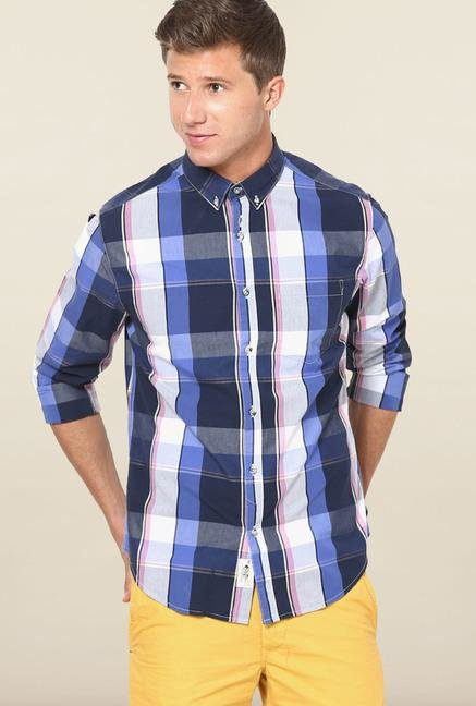 Jack & Jones Blue And White Checks Casual Shirt