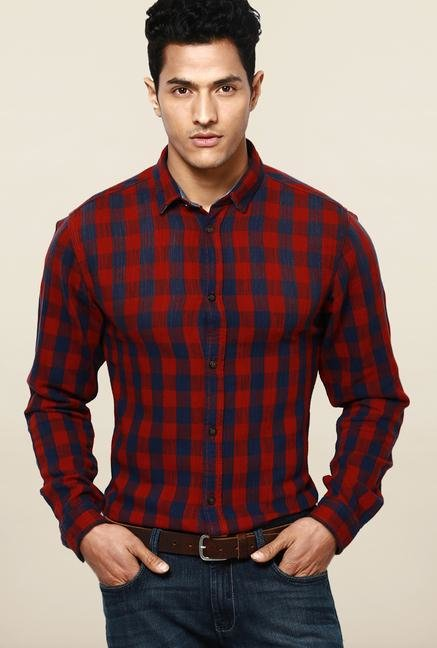 Jack & Jones Red And Blue Striped Casual Shirt