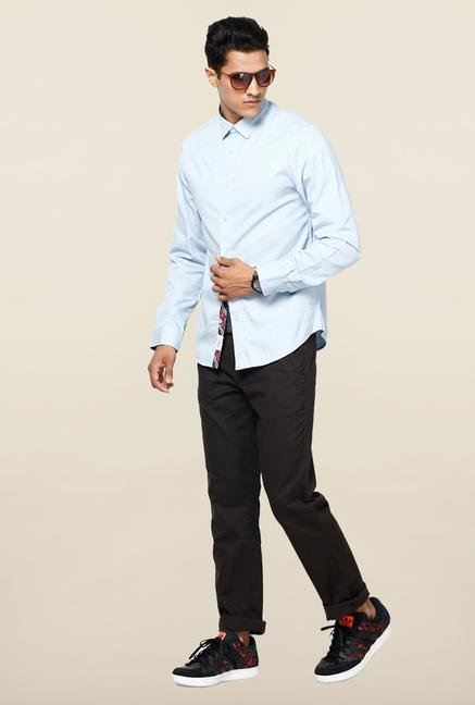 Jack & Jones Light Blue Solid Slim Fit Casual Shirt