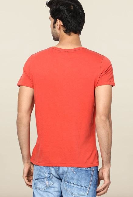 Jack & Jones Red Printed V-Neck T-Shirt