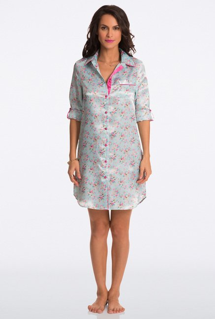 Pretty Secrets Aqua Floral Print Sleep Shirt