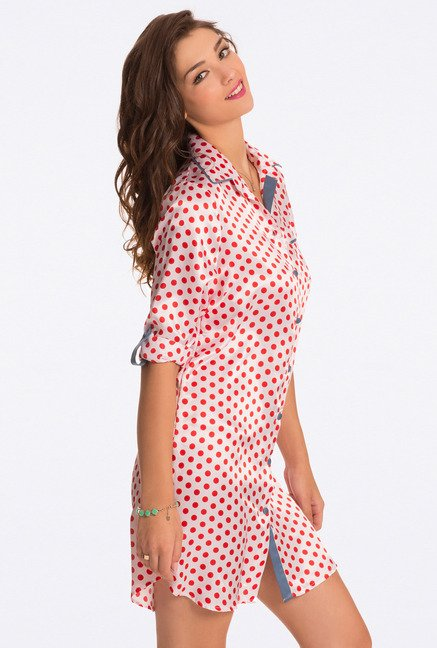 Pretty Secrets Ivory Polka Dot Sleep Shirt