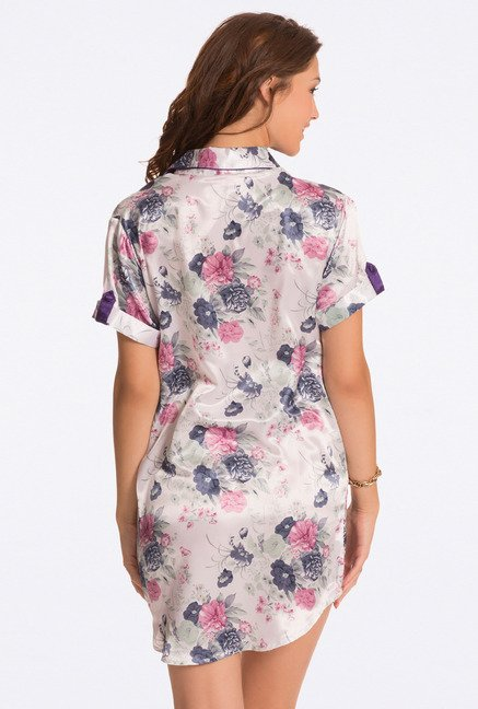 Pretty Secrets Ivory Floral Print Sleep Shirt