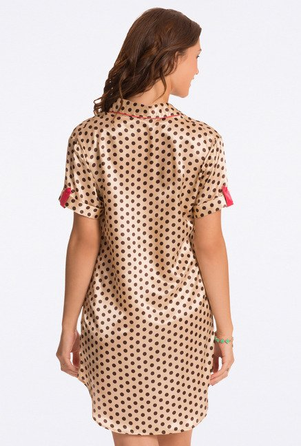Pretty Secrets Beige Polka Dot Sleep Shirt