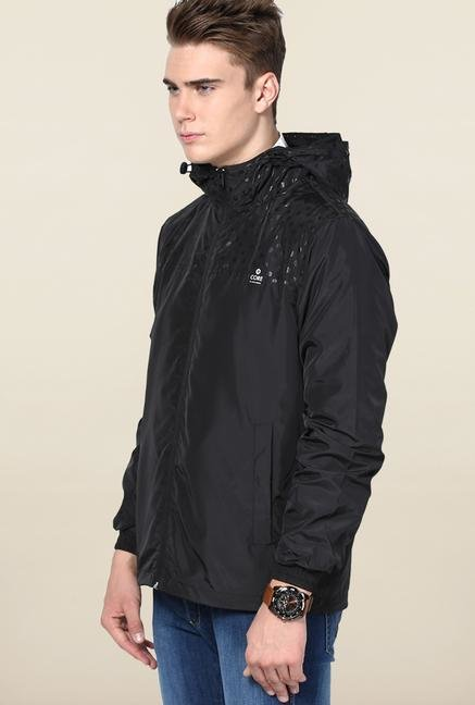Jack & Jones Black Solid Hooded Jacket