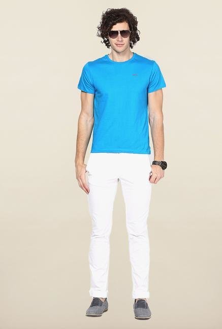Jack & Jones Aqua Blue Solid T-Shirt