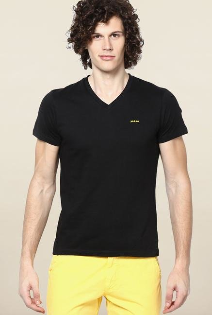 Jack & Jones Black Solid V-Neck T-Shirt