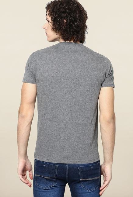 Jack & Jones Grey Solid V-Neck T-Shirt