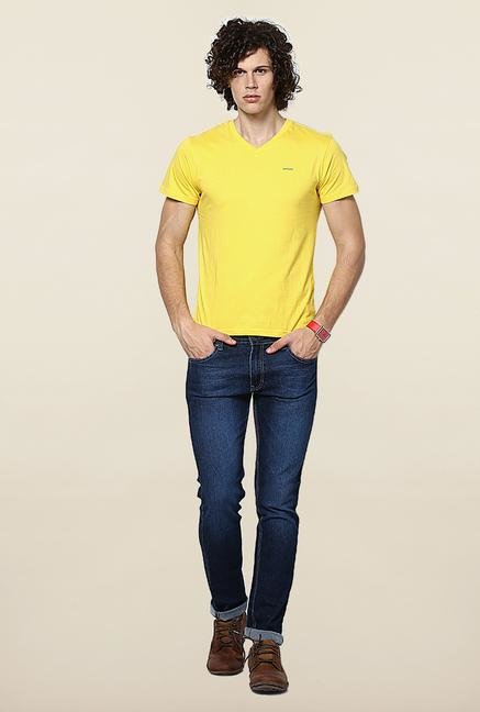 Jack & Jones Yellow Solid V-Neck T-Shirt