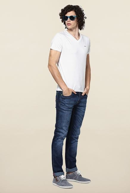 Jack & Jones White Solid V-Neck T-Shirt