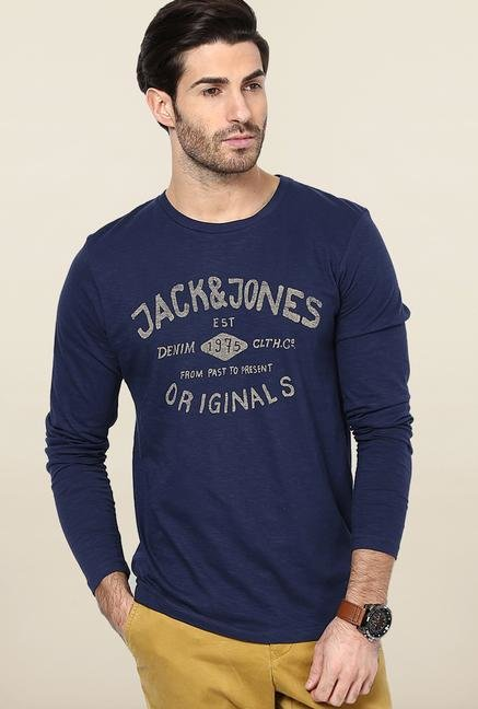 Jack & Jones Blue Printed Crew Neck T-Shirt