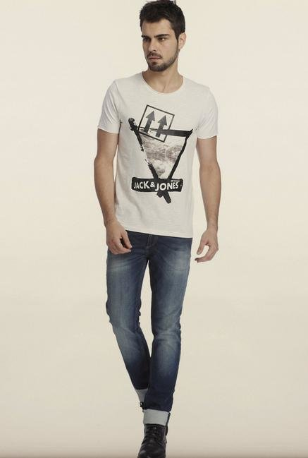 Jack & Jones White Graphic Printed Slim Fit T-Shirt