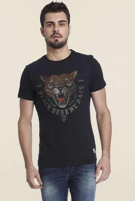 Jack & Jones Black Graphic Printed Crew Neck T-shirt